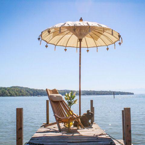 Original Balinesischer Sonnenschirm  Weiß