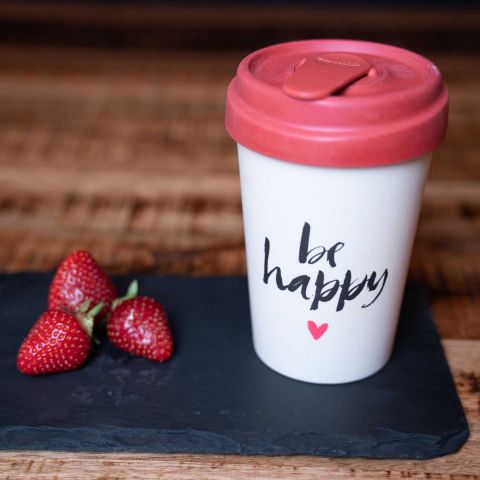 "Bambus To-go-Becher ""Be Happy"""